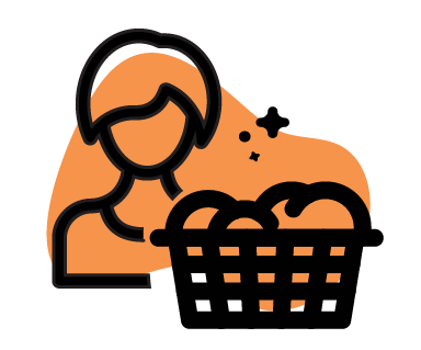 Washing Basket with clean clothes